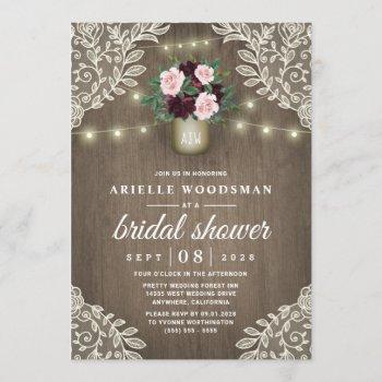 burgundy blush pink gold mason jar bridal shower invitation