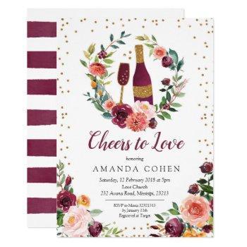 burgundy cheers to love wine bridal shower invitation