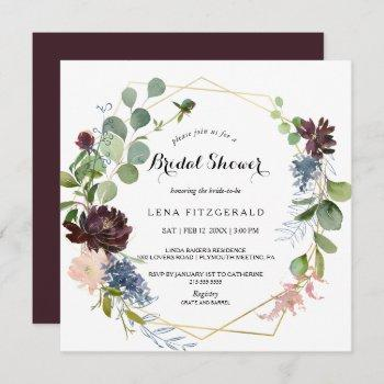 burgundy floral and greenery bridal shower invitation