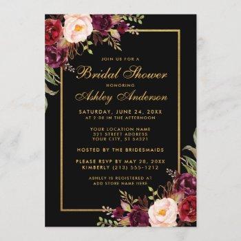 burgundy floral black gold bridal shower invitation