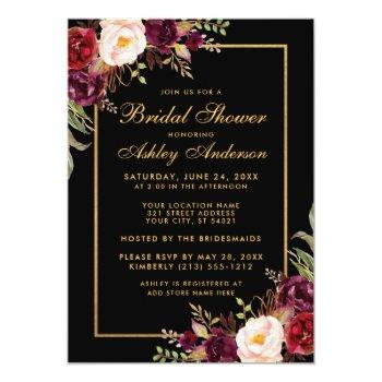 burgundy floral black gold bridal shower invitation