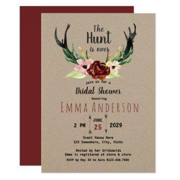 burgundy floral boho hunt is over bridal shower invitation