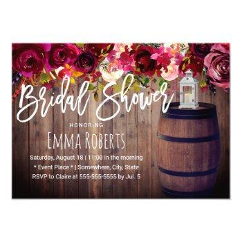 burgundy floral boho wine barrel bridal shower invitation