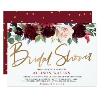 burgundy floral bridal shower invitation