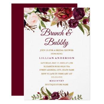burgundy floral brunch and bubbly bridal shower invitation