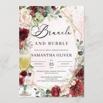 burgundy floral champagne glass brunch and bubbly invitation