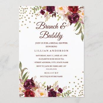 burgundy floral confetti brunch and bubbly shower invitation