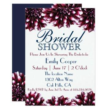 burgundy floral dahlia bridal shower invitation