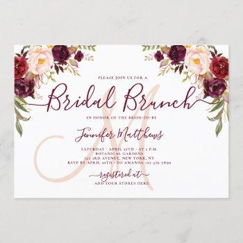 burgundy floral elegant monogram bridal brunch invitation