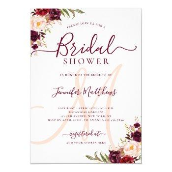 burgundy floral elegant monogram bridal shower invitation