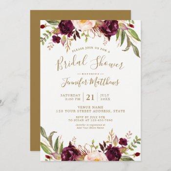 burgundy floral gold script rustic bridal shower invitation