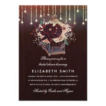 burgundy floral lantern rustic fall bridal shower invitation