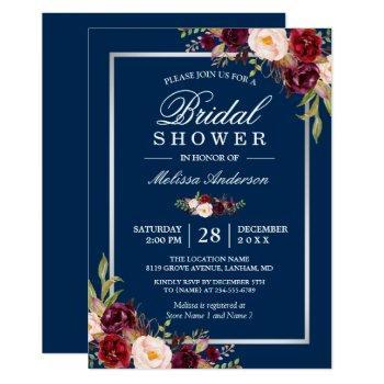 burgundy floral navy blue winter bridal shower invitation
