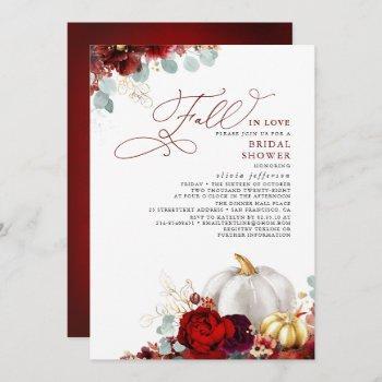 burgundy floral pumpkin fall in love bridal shower invitation