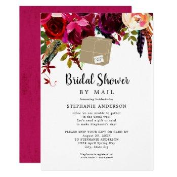burgundy floral shipping box bridal shower by mail invitation