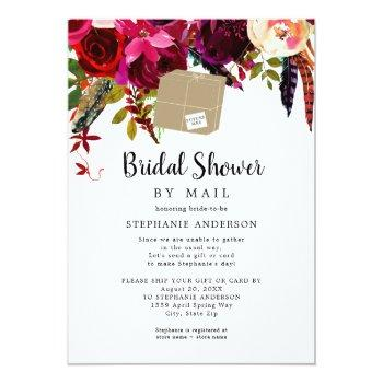 Small Burgundy Floral Shipping Box Bridal Shower By Mail Invitation Front View