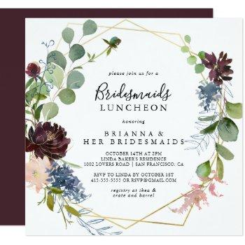 burgundy gold bridesmaids luncheon shower invitation