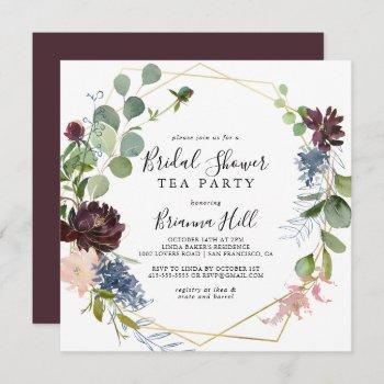 burgundy gold geometric bridal shower tea party invitation