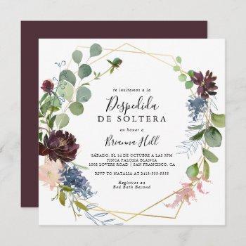 burgundy gold geometric spanish bridal shower invitation
