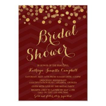burgundy gold glitter confetti bridal shower invitation