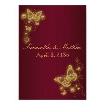 burgundy gold wedding butterfly theme invitation