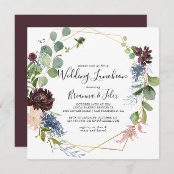 burgundy gold wedding luncheon bridal shower invitation