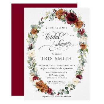 burgundy ivory rust floral wreath bridal shower invitation