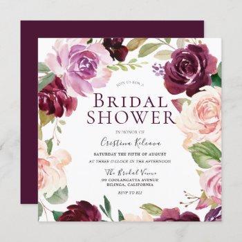 burgundy maroon blush floral wreath bridal shower invitation
