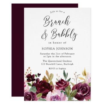 burgundy maroon brunch & bubbly bridal shower invitation