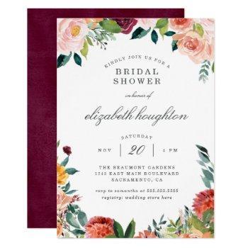 burgundy marsala blush pink floral bridal shower invitation