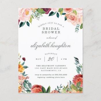 burgundy marsala blush pink floral bridal shower invitation postcard
