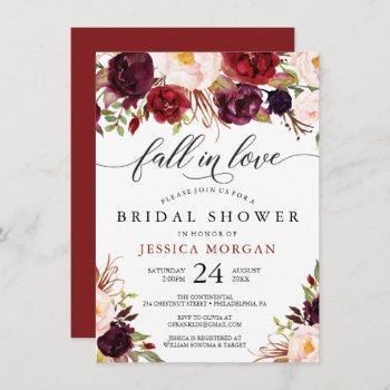 burgundy marsala bridal shower invite fall in love