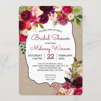 burgundy marsala floral bridal shower invite