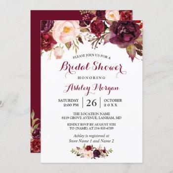 burgundy marsala red floral autumn bridal shower invitation
