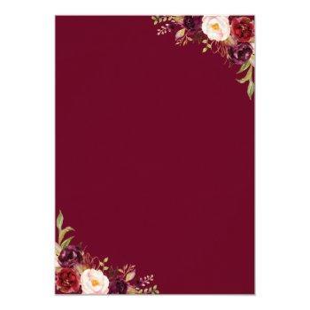 Burgundy Marsala Red Floral Autumn Bridal Shower Invitation Front View
