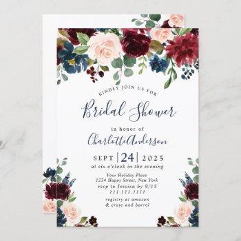 burgundy navy blue blush flowers bridal shower invitation