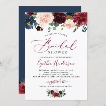 burgundy navy blue floral script bridal shower invitation