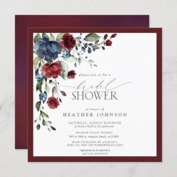 burgundy navy blue floral watercolor bridal shower invitation