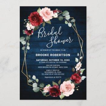 burgundy navy blush floral geometric bridal shower invitation