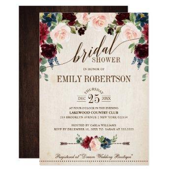 burgundy navy floral rustic boho bridal shower invitation