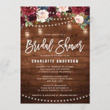 burgundy navy floral string light bridal shower invitation