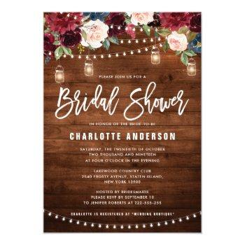 burgundy navy floral string light bridal shower invitation