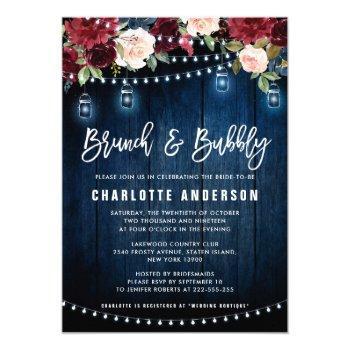 burgundy navy floral string light brunch & bubbly invitation