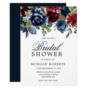 burgundy & navy watercolor flowers bridal shower invitation