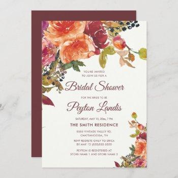 burgundy orange blue floral leaves bridal shower invitation