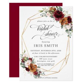 burgundy orange floral bridal shower geometric invitation
