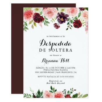 burgundy pink purple spring spanish bridal shower invitation
