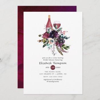 burgundy plum red wine tasting bridal shower invitation