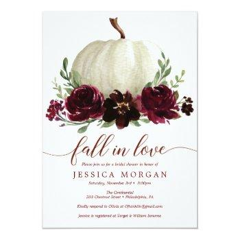 Burgundy Pumpkin Fall In Love Bridal Shower Invite Front View