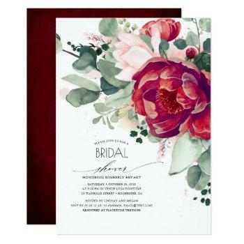 burgundy red and blush floral modern bridal shower invitation